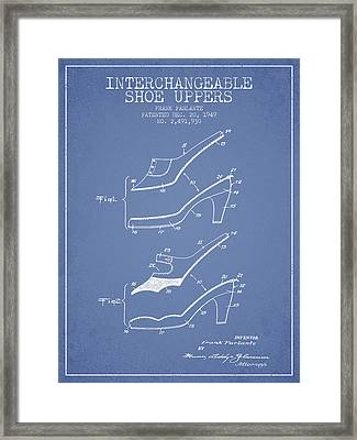 Interchangeable Shoe Uppers Patent From 1949 - Light Blue Framed Print by Aged Pixel