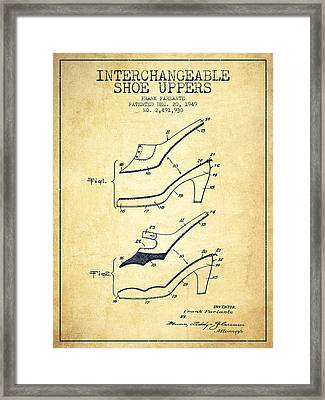 Interchangeable Shoe Uppers Patent From 1949 - Vintage  Framed Print by Aged Pixel