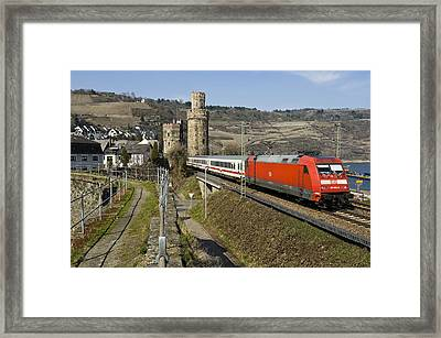 Intercity Train Passing Oberwesel Germany Framed Print by David Davies
