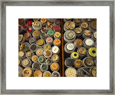 Interesting Buttons Framed Print by Jean Noren
