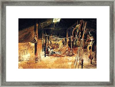 Interior Of A Earth House Of The Mandan Framed Print by Karl Bodmer