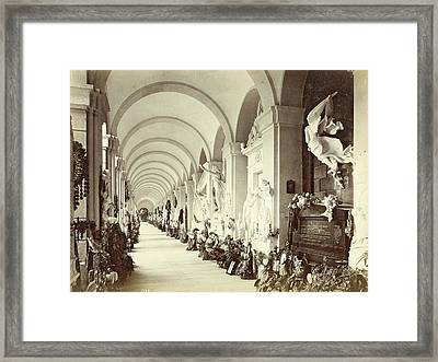 Interior Of A Gallery In The Cemetery Of Staglieno In Genoa Framed Print by Artokoloro