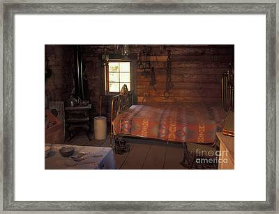 Interior Of A Loggers Cabin Framed Print by Ron & Nancy Sanford
