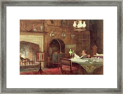 Interior Of A Panelled Hall Framed Print by Alfred J. Warne Brown