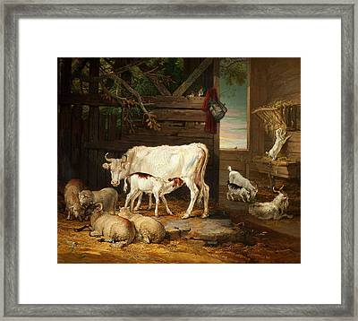Interior Of A Stable, 1810 Framed Print by James Ward