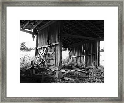 Interior Of Barn In Plainville Indiana Framed Print by Julie Dant