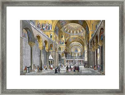 Interior Of San Marco Basilica, Looking Framed Print by Italian School