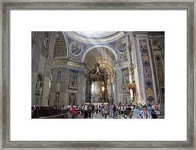 Interior Of St Peter's Dome. Vatican City. Rome. Lazio. Italy. Europe Framed Print by Bernard Jaubert