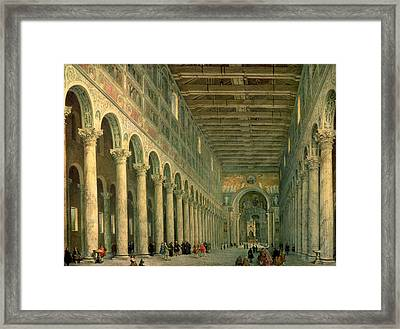 Interior Of The Church Of San Paolo Fuori Le Mura Framed Print by Giovanni Paolo Panini