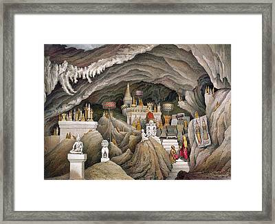 Interior Of The Grotto Of Nam Hou Framed Print by Louis Delaporte