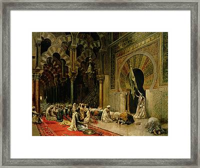 Interior Of The Mosque At Cordoba Framed Print by Edwin Lord Weeks