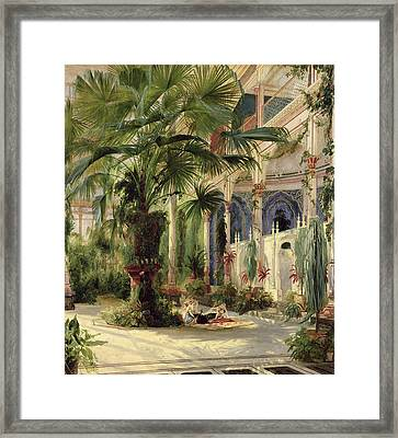 Interior Of The Palm House At Potsdam Framed Print by Karl Blechen
