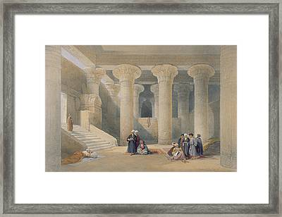 Interior Of The Temple At Esna, Upper Egypt, From Egypt And Nubia, Engraved By Louis Haghe Framed Print by David Roberts