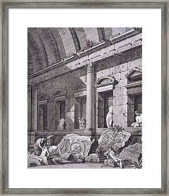Interior Of The Temple Of Diana, Nimes Framed Print by French School