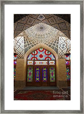 Interior Of The Winter Prayer Hall Of The Nazir Ul Mulk Mosque In Shiraz Iran Framed Print by Robert Preston