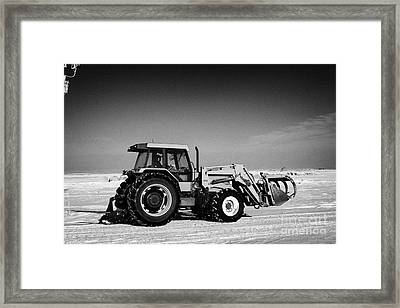 international 5140 tractor with front end loader on frozen field Forget Saskatchewan Canada Framed Print by Joe Fox