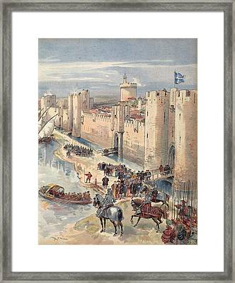 Interview Of Aigues-mortes Framed Print by Albert Robida