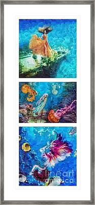 Into Deep Triptic Framed Print by Mo T