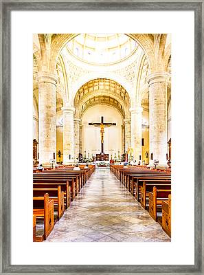 Into The Light At Merida Cathedral Framed Print by Mark E Tisdale