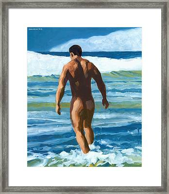 Into The Surf Framed Print by Douglas Simonson