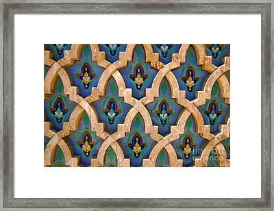 Intricate Zelji At The Hassan II Mosque Sour Jdid Casablanca Morocco Framed Print by Ralph A  Ledergerber-Photography