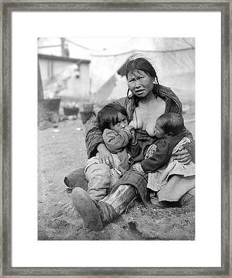 Inuit Nursing Two Babies Framed Print by Underwood Archives