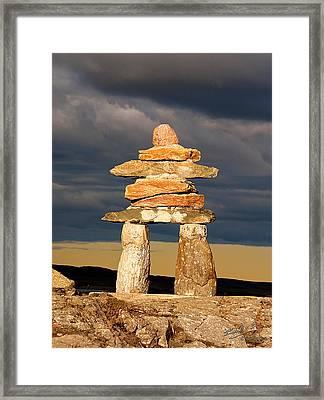 Inukshuk Framed Print by Elisabeth Van Eyken