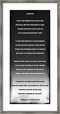 Invictus By William Ernest Henley Framed Print by Daniel Hagerman