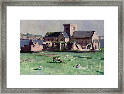 Iona Abbey From The Northwest Framed Print by Francis Campbell Boileau Cadell