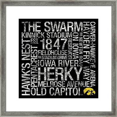 Iowa College Colors Subway Art Framed Print by Replay Photos