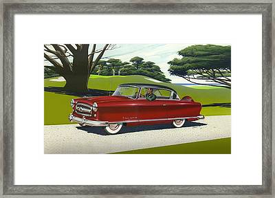 iPhone - Galaxy Case - 1953 Nash Rambler car americana rustic rural country auto antique painting Framed Print by Walt Curlee