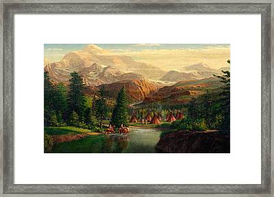 iPhone - Galaxy Case - Indian Village Trapper western mountain landscape oil painting Framed Print by Walt Curlee