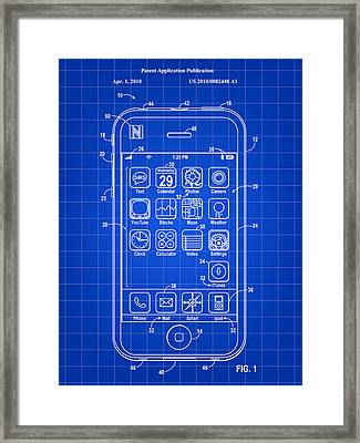 iPhone Patent - Blue Framed Print by Stephen Younts
