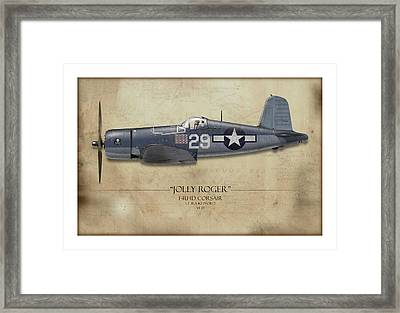 Ira Kepford F4u Corsair - Map Background Framed Print by Craig Tinder