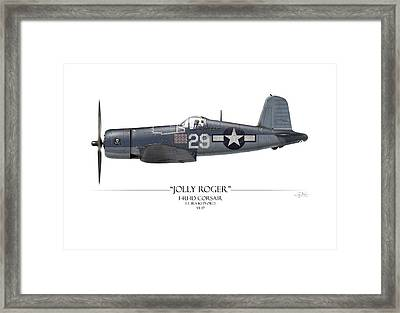 Ira Kepford F4u Corsair - White Background Framed Print by Craig Tinder