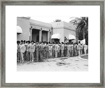 Iraqis Salute King Faisal Framed Print by Underwood Archives