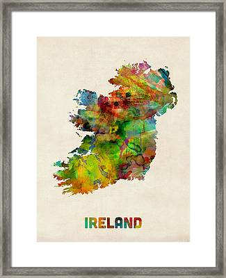 Ireland Eire Watercolor Map Framed Print by Michael Tompsett