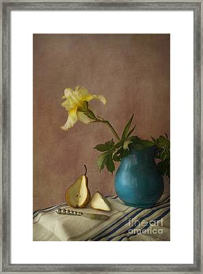 Iris And Pear Framed Print by Elena Nosyreva