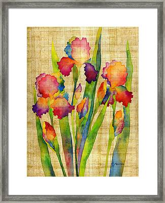 Iris Elegance On Yellow Framed Print by Hailey E Herrera