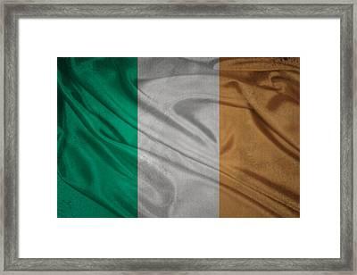 Irish Flag Waving On Canvas Framed Print by Eti Reid