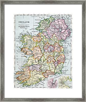 Irish Free State And Northern Ireland From Bacon S Excelsior Atlas Of The World Framed Print by English School