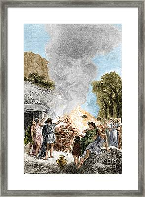Iron Age, Funeral Ceremony Framed Print by Science Source