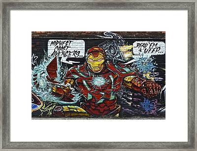 Iron Man Graffiti Framed Print by Frozen in Time Fine Art Photography
