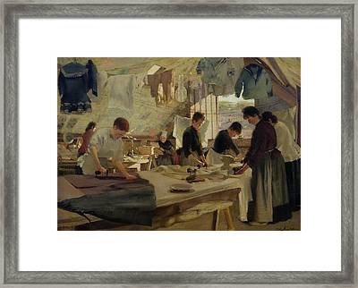 Ironing Workshop In Trouville Framed Print by Louis Joseph Anthonissen