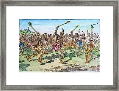 Iroquois - Lacrosse.  Framed Print by Granger