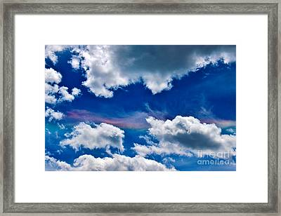 Irridescent Rainbows Among The Clouds Framed Print by Janice Rae Pariza