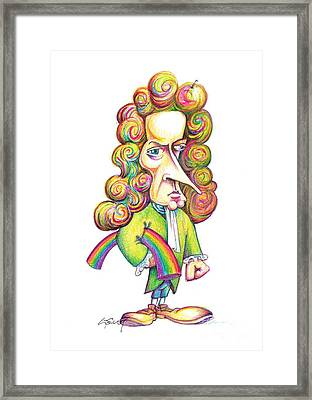 Isaac Newton Caricature Framed Print by Science Photo Library