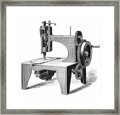 Isaac Singer's First Sewing Machine Framed Print by Universal History Archive/uig