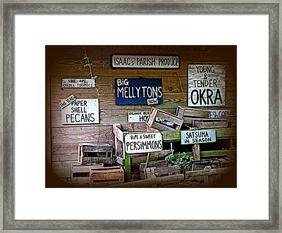 Isaac's Parish Produce Framed Print by Beth Vincent