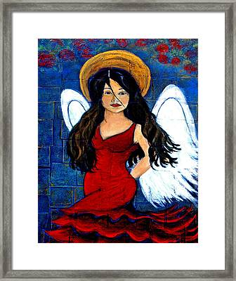 Isabella  A Spanish Earth Angel From Cultures Around The World Framed Print by The Art With A Heart By Charlotte Phillips